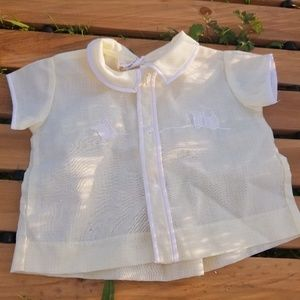 Vintage Pale Yellow Gingham Choo Choo Train Shirt